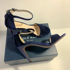 COLE HAAN Womens Clara Grand Blue Suede Sandals